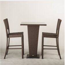 Destin Brown Synthetic Rattan Three Piece Outdoor Pub/Dining Table (Set of 3)