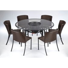 TableQ 7 Piece Dining Set with Firepit