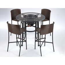 TableQ 5 Piece Bar Set with Firepit