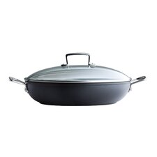 <strong>Le Creuset</strong> Forged Hard-Anodized Nonstick Shallow Braiser with Glass Lid