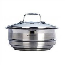 "Stainless Steel 8"" Steamer Insert with Glass Lid"