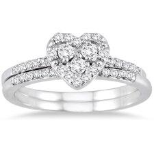10K White Gold Round Cut Diamond Bridal Ring Set