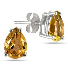 Pear Cut Gemstone Stud Earrings