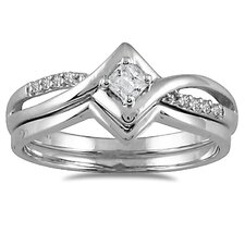 <strong>Szul Jewelry</strong> 10K White Gold Princess Cut Diamond Bridal Ring Set