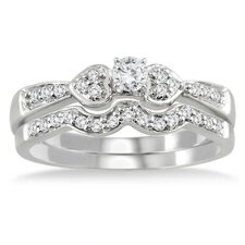 10K White Gold Round Cut Diamond Bridal Ring Set