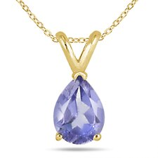14K Gold Pear Cut Gemstone Pendant