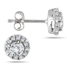 Round Cut Diamond Halo Stud Earrings