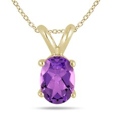 Gold Oval Cut Gemstone Pendant Set