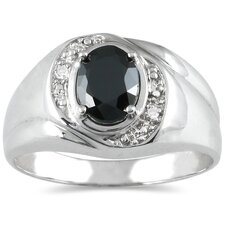Men's 10K White Gold Oval Cut Onyx Ring