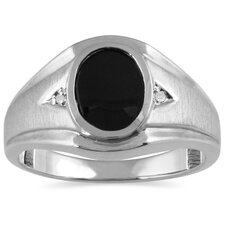 Men's Gold Oval Cut Onyx Ring