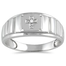 <strong>Szul Jewelry</strong> Men's 10K White Gold Round Cut Diamond Cross Ring