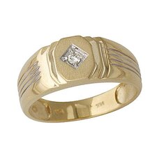 <strong>Szul Jewelry</strong> Men's 10K Yellow Gold Round Cut Diamond Ribbed Ring