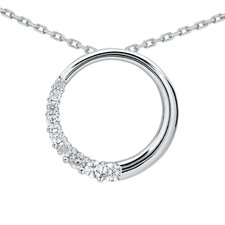 <strong>Szul Jewelry</strong> 10K White Gold Round Cut Diamond Circle Journey Pendant