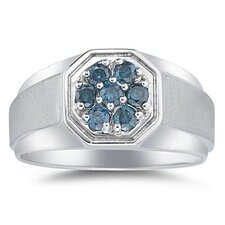 <strong>Szul Jewelry</strong> Men's 14K White Gold Round Cut Diamond Cluster Ring