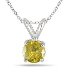 10K White Gold Round Cut Solitaire Diamond Pendant