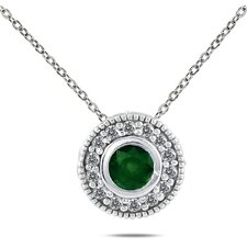 10K White Gold Round Cut Gemstone Pendant