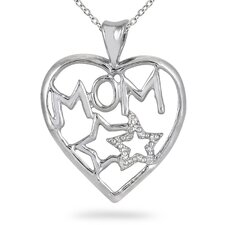 Sterling Silver Round Cut Diamond Heart Mom and Stars Pendant