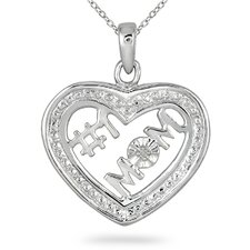 Sterling Silver Round Cut Diamond Heart Mom Pendant