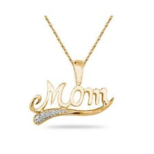 Sterling Silver Round Cut Diamond Mom Pendant