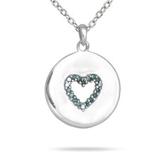 10K White Gold Round Cut Diamond Heart Tag Pendant