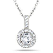 Gold Round Cut Diamond Halo Pendant