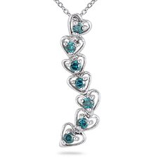 10K White Gold Round Cut Diamond Journey Heart Pendant