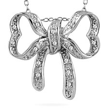Sterling Silver Round Cut Diamond Bow Pendant