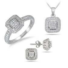 Sterling Silver Round Cut Diamond Antique Style Jewelry Set