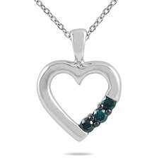 10K White Gold Round Cut Three Stone Diamond Heart Pendant