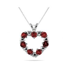 10K White Gold Round Cut Gemstone Heart Pendant