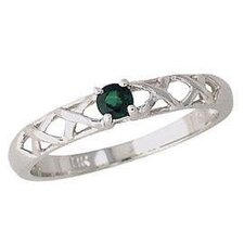<strong>Szul Jewelry</strong> 14K White Gold Round Cut Emerald Antique Ring