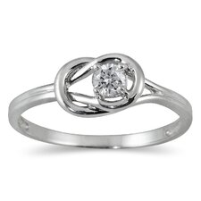 10K White Gold Round Cut Diamond Ring