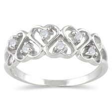 <strong>Szul Jewelry</strong> Sterling Silver Round Cut Diamond Rope Twist Ring
