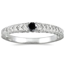 14K White Gold Round Cut Diamond Antique Promise Ring