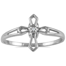 <strong>Szul Jewelry</strong> 10K Round Cut Diamond Cross Ring