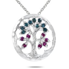 10K White Gold Round Cut Gemstone Tree of Life Pendant