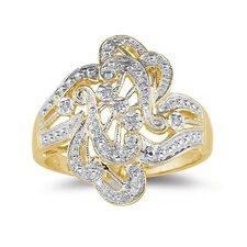 10K Yellow Gold Round Cut Diamond Antique Engraved Ring