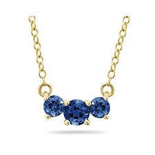 14K Yellow Gold Round Cut Gemstone Pendant Necklace