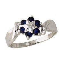 <strong>Szul Jewelry</strong> 14K White Gold Round Cut Sapphire Flower Ring