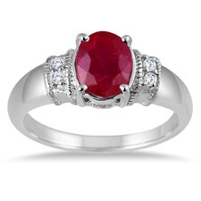 Sterling Silver Oval Cut Ruby Ring