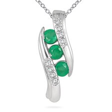 10K White Gold Round Cut Channel Set Gemstone Pendant