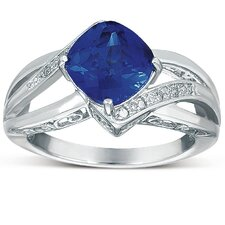 Sterling Silver Cushion Cut Sapphire Ring
