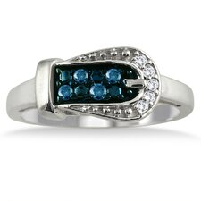 Sterling Silver Round Cut Diamond Buckle Ring