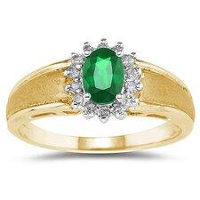 10K Oval Cut Gemstone Flower Ring