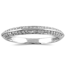 10K White Gold Round Cut Diamond Knife Edge Wedding Band
