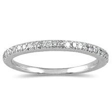 10K White Gold Round Cut Diamond Wedding Band