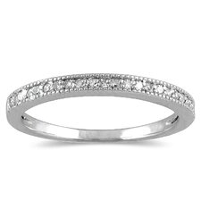 10K White Gold Round Cut Diamond Wedding Band