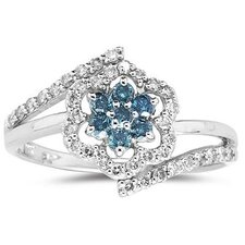 10K White Gold Round Cut Diamond Flower Ring