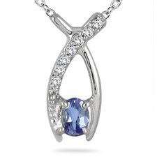 14K White Gold Oval Cut Tanzanite Ribbon Pendant