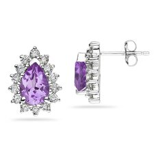 <strong>Szul Jewelry</strong> 14K White Gold Pear Cut Gemstone Flower Stud Earrings